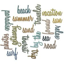 Sizzix Tim Holtz Alterations Thinlits Die Vacation Words Script 661288 2016