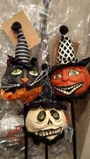SET 3 - NWT Folk Art Black CAT Jack O Lantern Pumpkin Ghost Halloween Pick Decor