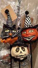 SET 3 - NWT Folk Art Black CAT Jack O Lantern Pumpkin Ghost Halloween Pick Decor