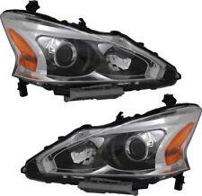 Headlights Headlight Assembly (w/Bulb) Pair Set for 13-15 Nissan Altima Sedan