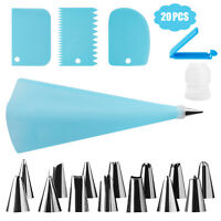 Silicone Icing Piping Cream Pastry Bag +14 Cream Nozzles Set DIY Decorating Cake