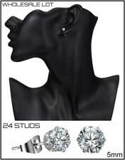 WHOLESALE LOT 24 Silver Studs Cubic Zirconia EARRINGS EAR Jewelry 12 PAIRS 5mm