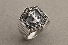 Turkish Jewelry Anchor Symbol Marcasite 925 Sterling Silver Men's Ring 11