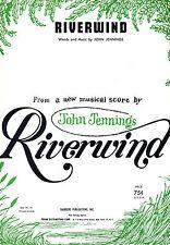 "John Jennings ""RIVERWIND"" Lovelady Powell / Lawrence Brooks 1962 Sheet Music"