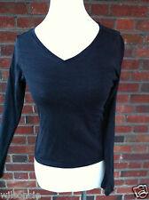 Isabelle Elie Feminine Black V-Neck Long Sleeve T-Shirt Size Small S