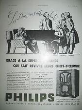 PUBLICITE DE PRESSE PHILIPS T.S.F. SUPER-INDUCTANCE 637 FRENCH ADVERTISING 1935