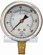 Liquid Filled Pressure Gauge 0 300 Psi 25 Face 14 Npt Lower Mount Wog