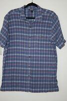 Patagonia Mens Shirt Size Large Organic Cotton Button Down Blue EUC