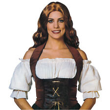 ADULT VELVET# BROWN / BLACK PIRATE CORSET MEDIEVAL GOTHIC FANCY DRESS OUTFIT