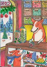 Aceo Print Of Painting Pembroke Welsh Corgi Xmas Candy Folk Art Ryta Gift Pet