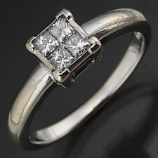 Modern Sparkling 4 Princess Cut DIAMOND 18k Solid WHITE GOLD DRESS RING Med Sz M