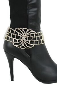 Women Boot Bracelet Gold Metal Chain Bling Anklet Shoe Silver Big Flower Charm