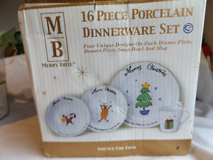 Merry Brite Service for 4 Holiday Christmas Snow Breakfast/Dinner 16 Piece Set