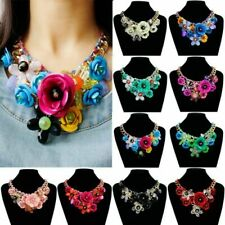 Colorful Metal Crystal Flower Chain Big Chunky Choker Necklace Collar Pendant