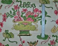 SCALAMANDRE CHINOISERIE SHANGHAI BLOSSOMS FABRIC 10 YARDS PINKS GREEN