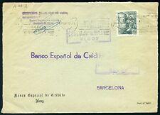 ESPAÑA CARTA  ALCOY ALICANTE A BARCELONA. CENSURA MILITAR