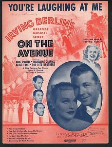 You're Laughing At Me 1937 On The Avenue Alice Faye Dick Powell Sheet Music