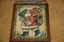 """HANDCRAFTED DECOUPAGED LANG PICTURE SANTA CLAUS & TOY SACK """"CHRISTMAS JOY"""""""