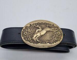 Vintage Award Design Medals Inc ADM Brass Belt Buckle & leather belt Cowboy styl