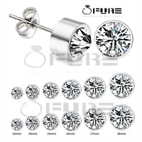 Women/Girls Men Anti Allergic Stainless Steel Round Crystal Ear Stud Earrings