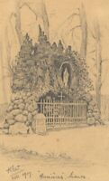 Kenneth E. Wootton, Virgin Mary Shrine, Humières, France – 1917 graphite drawing
