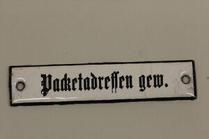 altes Emailleschild  Deutsche Post Reichspost Packetadressen gew. Emailschild