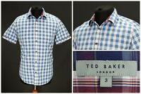 Mens Ted Baker Halfpin Shirt Short Sleeve Check Blue Cotton Size 3 / M