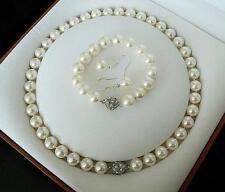 10 mm weiß Südseeperle Shell Halskette Armband Ohrringe