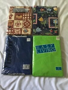 Vinyl Tablecloth Lot of 4 Round Oval Inches Blue Harvest Picnic Flower Green