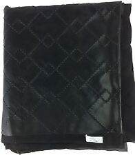 Faux Leather Black Diamond Stitched Upholstery / Auto Fabric Gauze Backed 92x56""