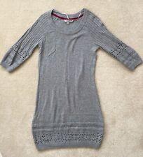 Fat Face Grey Jumper Dress crochet Cotton wool 3/4 Sleeves 10 Nordic Autumn I17