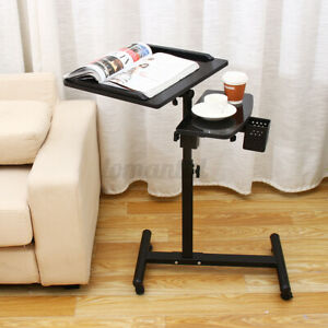 Rolling Height Angle Adjustable Laptop Desk Bed Computer Desk Tray Table Stand