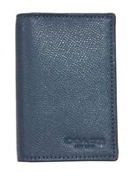 Coach F86763 Men's Dark Denim Bifold Card Case Crossgrain Leather $95