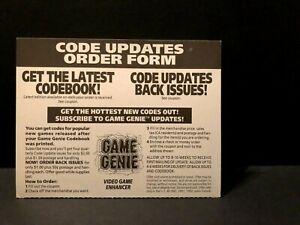 Game Genie Code Updates Order Form Insert ONLY