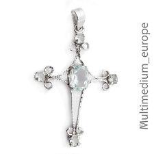 Silber Kreuz Anhänger blau Aquamarin e silver cross pendant blue