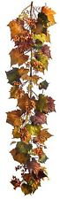Artificial Fall Pumpkin Leaf Garland w/Berries Autumn Harvest Thanksgiving 6 ft