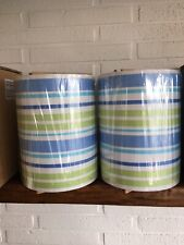 NEW Lot 2 Pottery Barn Teen Table Lamp Shade Blue Ribbon Boy Room PB Stripe Pair