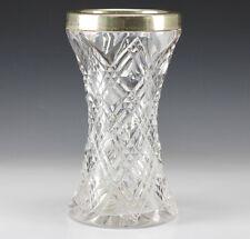 English Cut Crystal w/ Sterling Silver Overlay Vase - Birmingham - Makers Mark