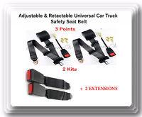 2 Kits Universal Strap Adjustable Seat Belt Black 3 Point +2 EXTENSIONS