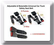 2 Kits Universal Strap Adjustable Seat Belt Black 3 Point +2 EXTENSIONS