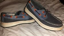 SPERRY TopSider Cupsole SO Navy Orange Leather Boat Shoes Youth Boys Sz 10.5m