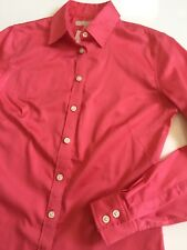 NWT Banana Republic Womens 4 Fitted Stretch Cotton Coral Pink Shirt Top L/S