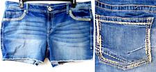 Maurices blue embroidered frayed hem spandex denim shorts 22