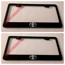 2X Toyota LOGO Laser Style Camry Black Stainless Steel License Plate Frame
