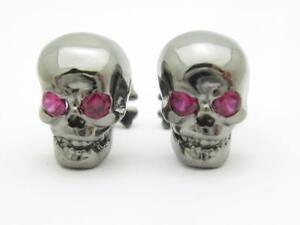 Black Gold Sterling Silver Red Sapphire Skull Head Designer Cufflinks Gift