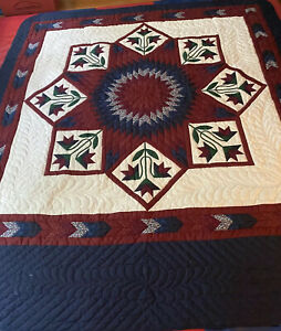 handmade amish quilt king Star With Appliqué Blue