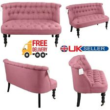 Sofa Chair Double Seater Tufted Buttons Polyester Fabric Armchair Living Room UK