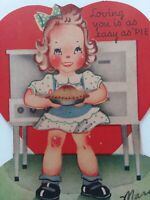 Vtg GIRL Stove PIE Loving You Easy as PIE 1940-50s VALENTINE GREETING CARD