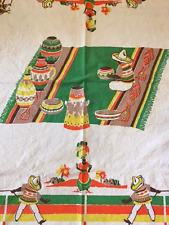 Vintage Startex Textiles Mexican Fiesta Southwestern Linen Tablecloth L 69 x 56