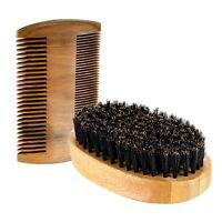 Men Boar Hair Bristle Beard Mustache Brush Hard Round Wood Handle Comb Set